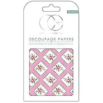 "Craft Consortium Decoupage Papers 13.75""X15.75"" 3/Pkg-Framed Posie"