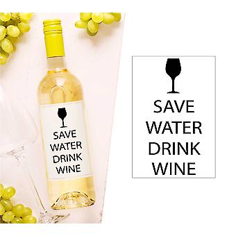 Save Water Drink Wine Wine Bottle Label