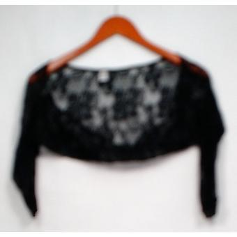 Slimming Options Sweater Printed Lace 3/4 Sleeve Shrug Black