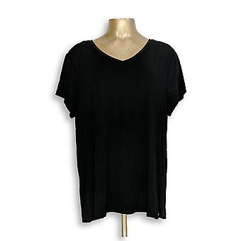H by Halston Women's Top Essentials V-Neck Forward Black A306231