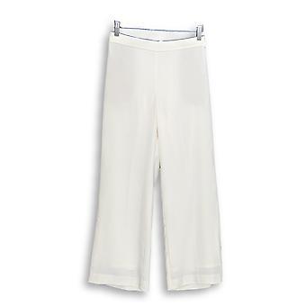 Susan Graver Women's Petite Pants Stretch Woven Full Length White A344670