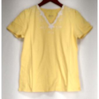 Denim & Co. Top V-hals korte mouw met detail geel A200704