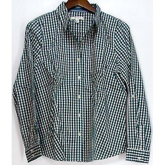 Liz Claiborne York Long Sleeve Plaid Shirt Top Pool Green A213273