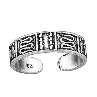 Patterned - 925 Sterling Silver Toe Rings - W38966X