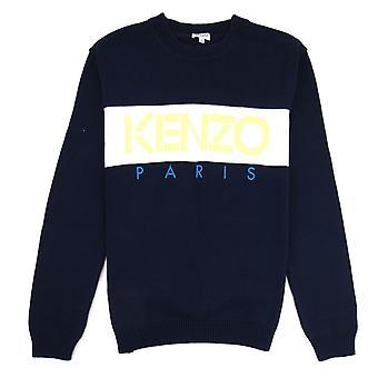 Kenzo Logo Crew Knit Sweatshirt Midnight Blue