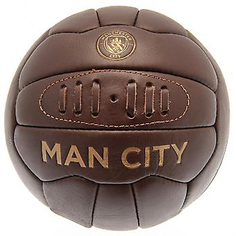 Manchester City FC Retro Leather Heritage Football