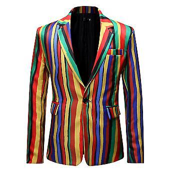 Allthemen Men's Stripe Rainbow Colorful Blazer Slim Fit Casual Suit Jacket