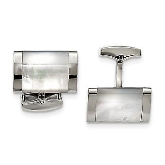 Stainless Steel Polished Simulated Mother of Pearl Cuff Links Jewelry Gifts for Men