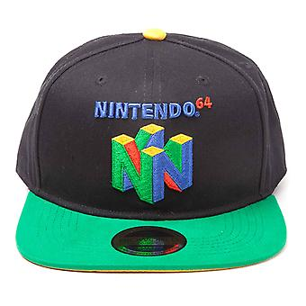 Nintendo Baseball Cap N64 Classic Logo new Official Black Snapback