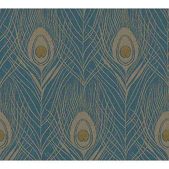 Peacock Feathers Vinyl Non-Woven Wallpaper Gold Dark Blue Luxury Paste the Wall