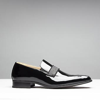 Mister Carlo Skipton Mens Patent Elasticated Loafers Black
