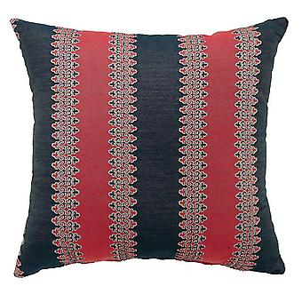 Contemporary Big Pillow With fabric, Red & Blue Finish, Set of 2