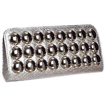 Onlineshoe Damen Metallic Abend Clutch Handtasche - Silber Metallic