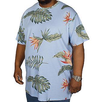 Duke D555 Mens Rufus Big Tall Crew Neck Hawaiian Short Sleeve T-Shirt Top - Blue
