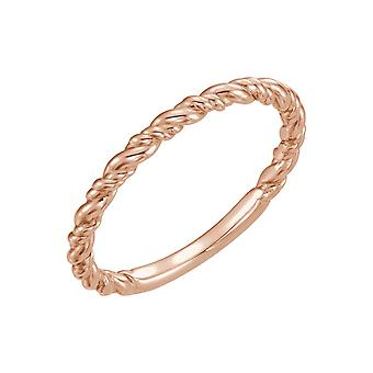 14k Rose Gold Polished Stackable Rope Ring Size 6.5 Jewelry Gifts for Women - 2.0 Grams