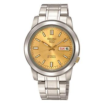 Seiko 5 Automatic Gold Dial Silver Stainless Steel Men's Watch SNKK13K1