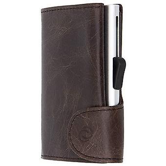 C-Secure Vintage Leather Single Card Holder Wallet - Green