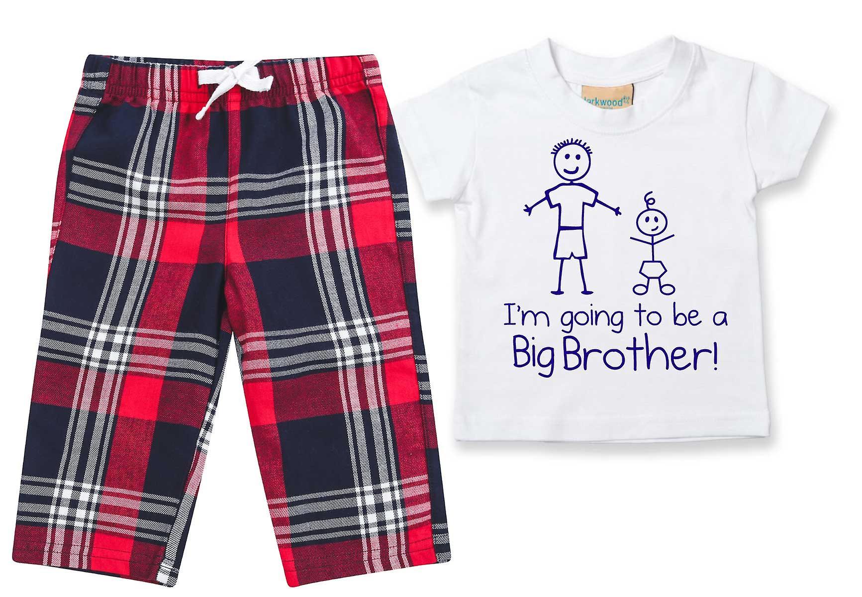 I'm Going To Be A Big Brother Tartan Trouser Pyjamas