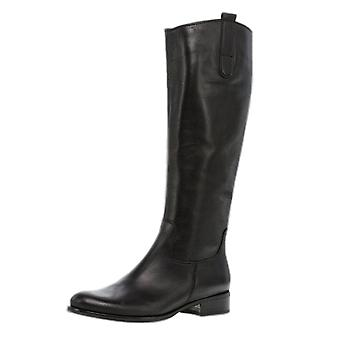 Gabor Brook Ladies Riding Style Leather Boots In Black