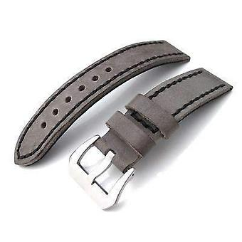 Strapcode calf leather watch strap 20mm, 21mm soft italian leather donkey grey watch strap with black stitches