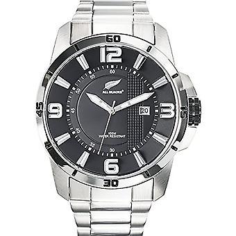 Todos los negros Unisex reloj analógico con metal plateado acero inoxidable 680288