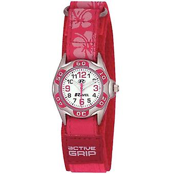 Ravel Girls Bright Pink Hibiscus Easy Fasten Strap Watch R1507.19