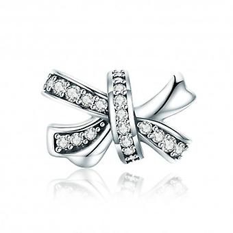 Sterling Silver Charm Dazzling Bowknot - 5691