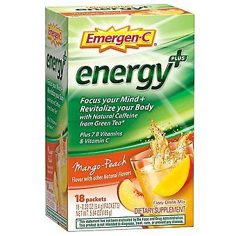 Emergen-c energy+ fizzy drink mix packets, mango-peach, 18 ea