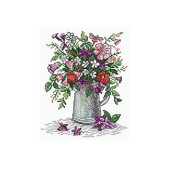 MP Studia Cross Stitch Kit - Flowers in Watering Can