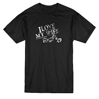 Me encanta camiseta mi esposa moto mensaje hombres