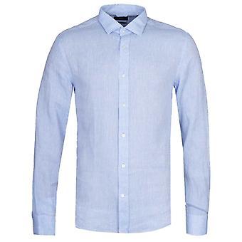 BOSS Joy Slim Fit Light Blue Linen Shirt