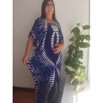 الأزرق القطن الصيف Dashiki اللباس الكامل Lenght الأزرق الجديد التطريز اللباس