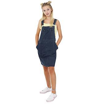 Short denim dungaree dress - vintage wash bib overall pinafore