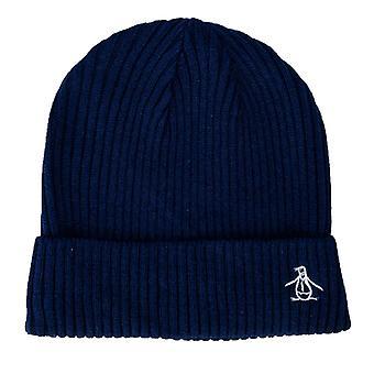 Accessories Original Penguin Basic Rib Beanie Hat in Blue