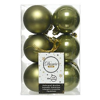 12 Moss Green 6cm Shatterproof Christmas Tree Bauble Decorations
