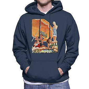 The Saturday Evening Post Card Game At The Beach Alex Ross Men's Hooded Sweatshirt