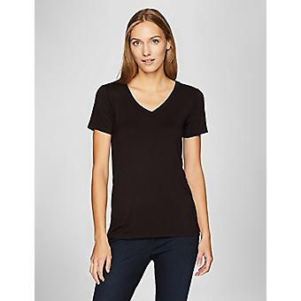 Marke - Tägliche Ritual Frauen's Jersey Kurzarm V-Ausschnitt T-Shirt, Schwarz...