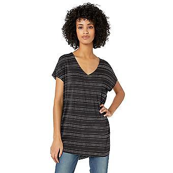 Daily Ritual Women's Jersey Dolman-Sleeve V-Neck Tunic, Black/White Stripe, X...