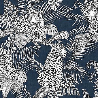 Mamboa Leopard Wallpaper Blue Muriva 173523