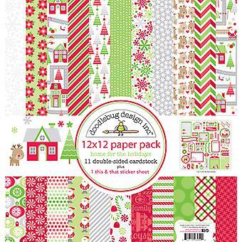 Doodlebug Дизайн Главная для праздников 12x12 Inch бумаги Pack