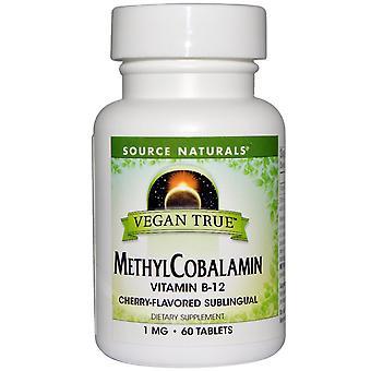 Source Naturals, Vegan True, MéthylCobalamin, Cherry Flavor, 1 mg, 60 Sublingual