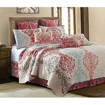 2PC Portofino Printed King/Queen Size Polyester Quilt With 2 Shams