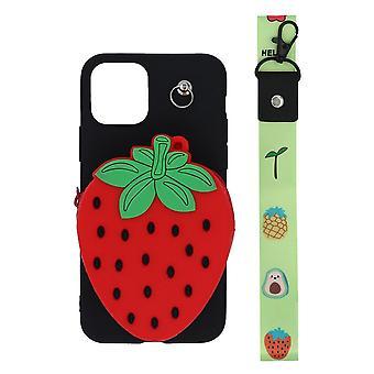 iPhone 11 Pro skal/plånboksfodral Jordgubbe/svart/röd