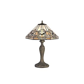 2 Light Curved Table Lamp E27 With 40cm Tiffany Shade, White, Grey, Black, Clear Crystal, Aged Antique Brass