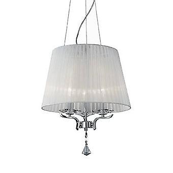 3 Light Multi Arm Ceiling Pendant Chrome, Bianco con Cristalli con Organza Shade, E14
