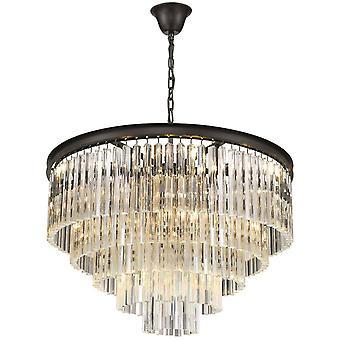 10 acabado cromado negro de lámpara de araña ligera, E14
