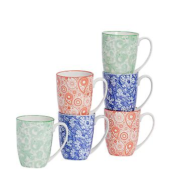 Nicola Spring 6 Piece Paisley Patterned Tea and Coffee Mug Set - Large Porcelain Latte Mugs - 3 Colours - 360ml