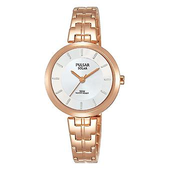 Pulsar señoras solar rosa oro pulsera blanco dial 50M reloj (modelo No. PY5064X1)
