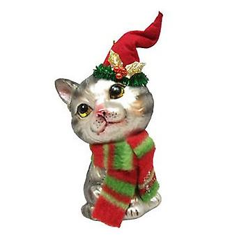 Kitty Kat In tricotst Hat Christmas Holiday Ornament glas