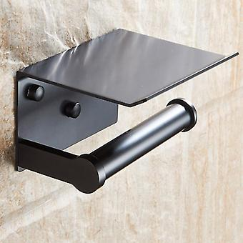 Toilet Paper Holder With Shelf, Wall Mounted Mobile Phone Paper Towel Holder,